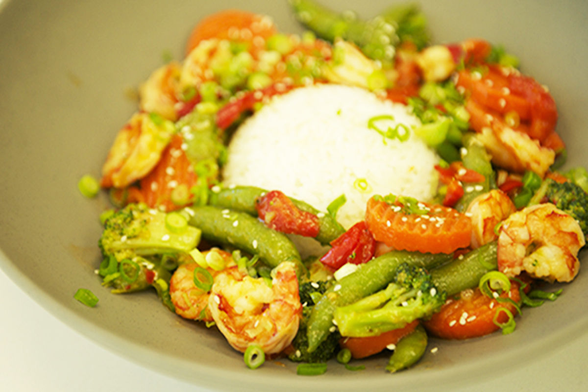Organic Shrimp and Organic Vegetable Sauté Package
